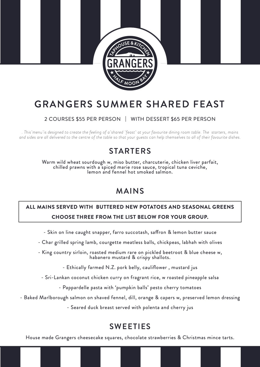 Summer feast set menu