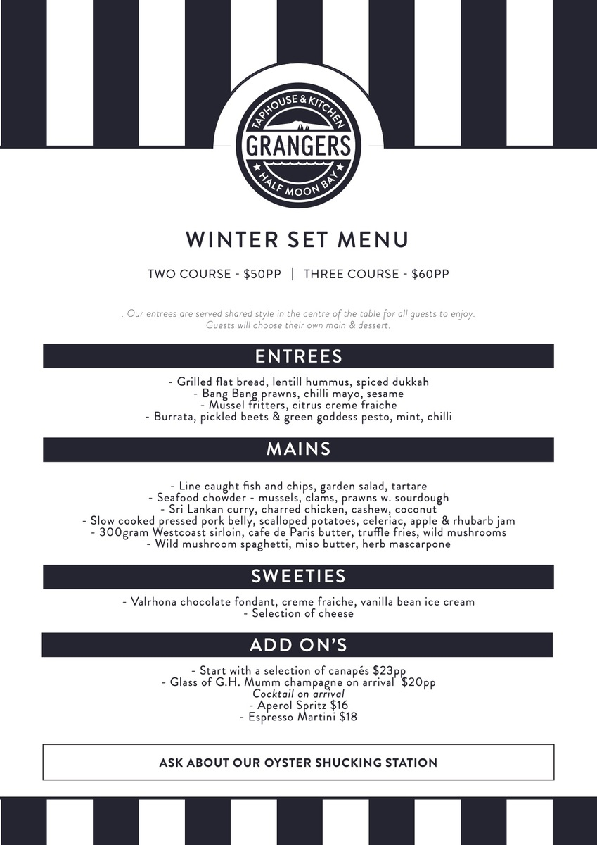 Winter set menu